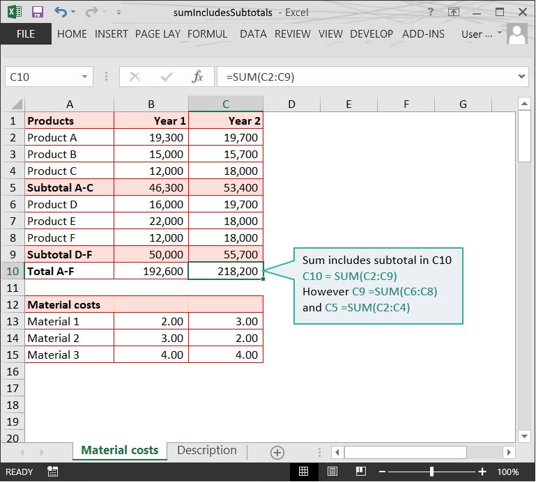 Sum includes Subtotal :: Calculation Doubts :: Risk Detection :: PerfectXL