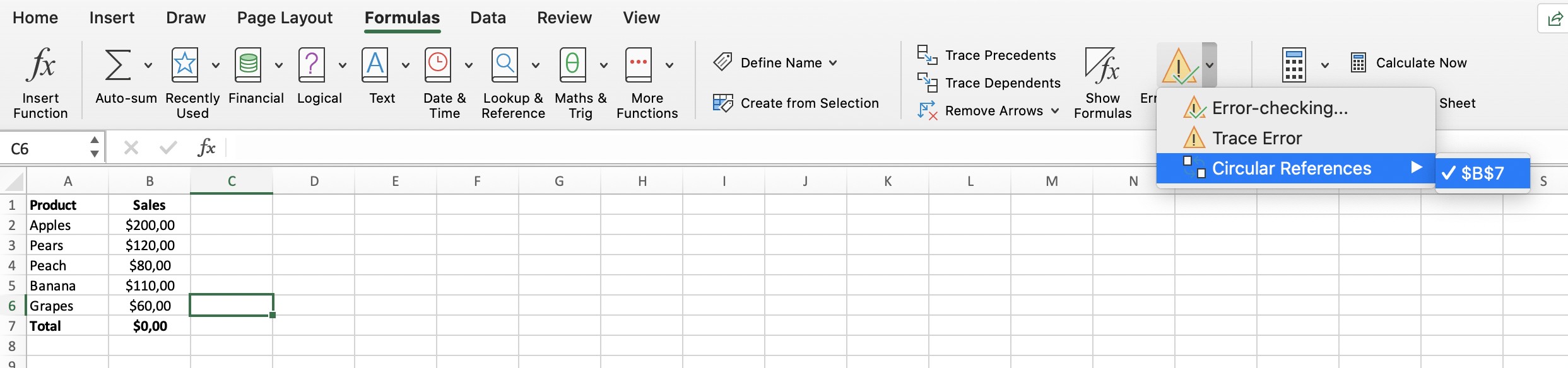 Automatic Excel detection of circulare references // PerfectXL