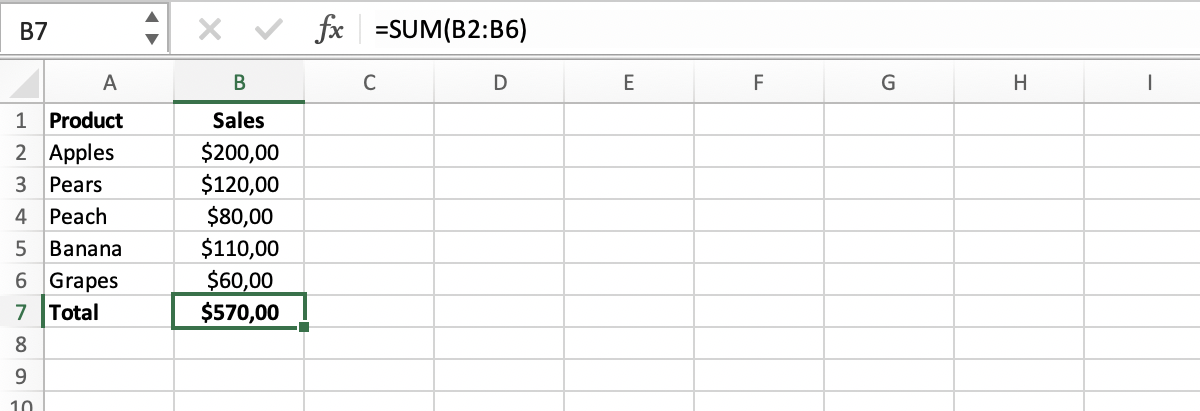 Example of a sum in Excel // PerfectXL Spreadsheet Validation