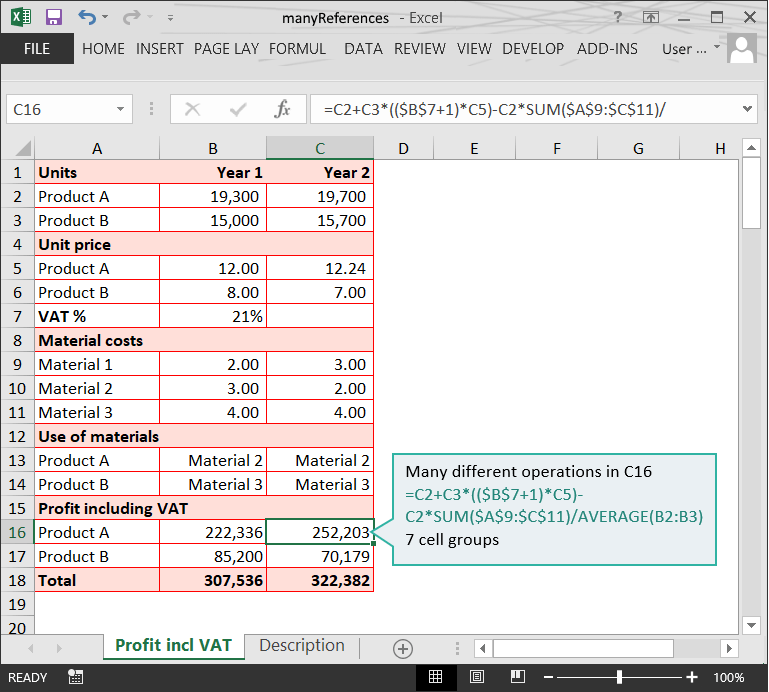 References to Many Cell Groups // The Risks of Complex Formulas in Excel // PerfectXL Risk Eliminator