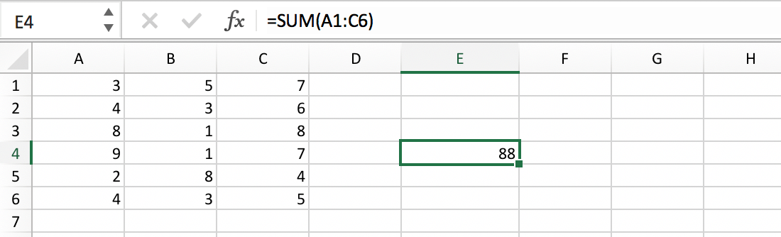Example of a cell range within a formula in Excel // PerfectXL