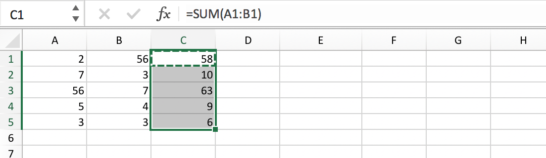 Example of a formula range in an Excel file // PerfectXL