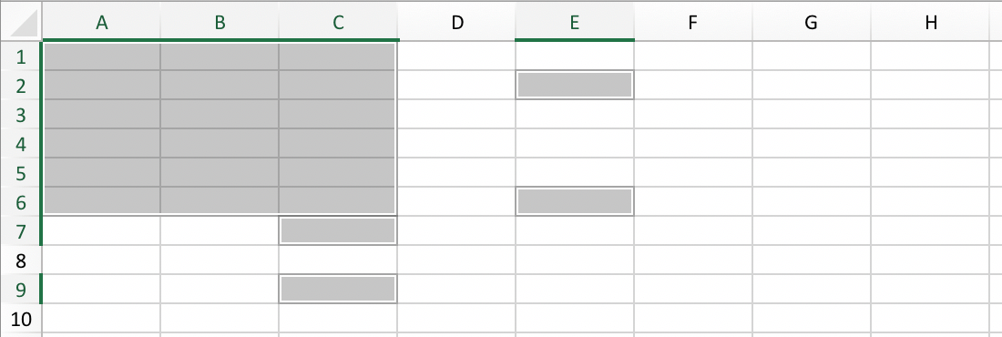 Example of an irregular cell range in Excel // PerfectXL