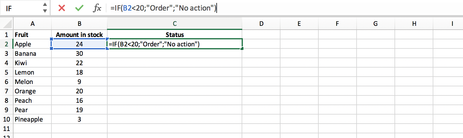 Example of how to call the IF function in Excel // PerfectXL