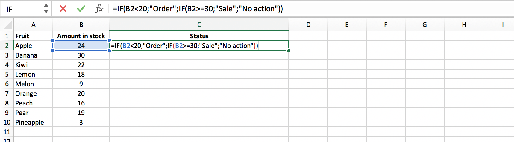 Example of a nested IF function in Excel // PerfectXL
