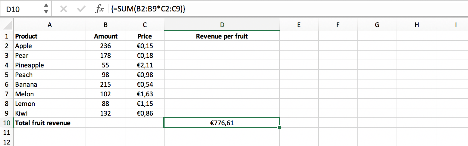 Result of a single cell array formula in Excel // PerfectXL