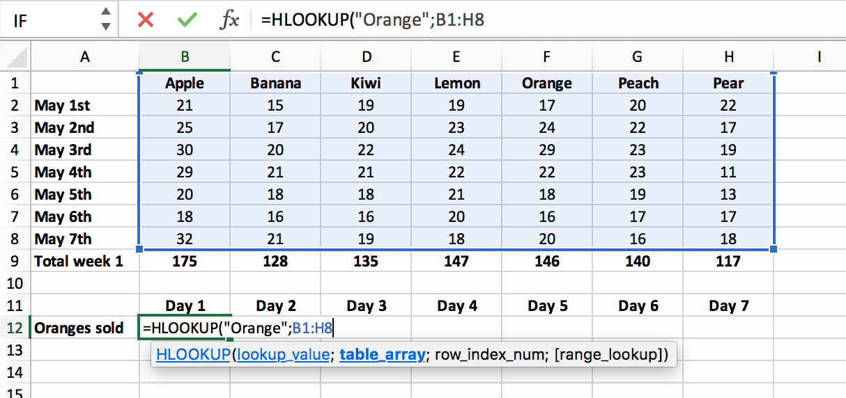 Lookup range in a HLOOKUP function in Excel file // PerfectXL