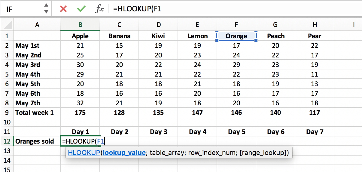 Enter the lookup value in a HLOOKUP function as a cell reference // PerfectXL