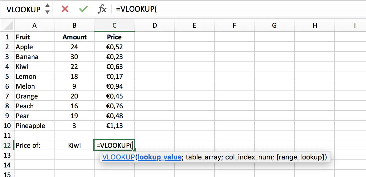 Call the VLOOKUP function in Excel // PerfectXL