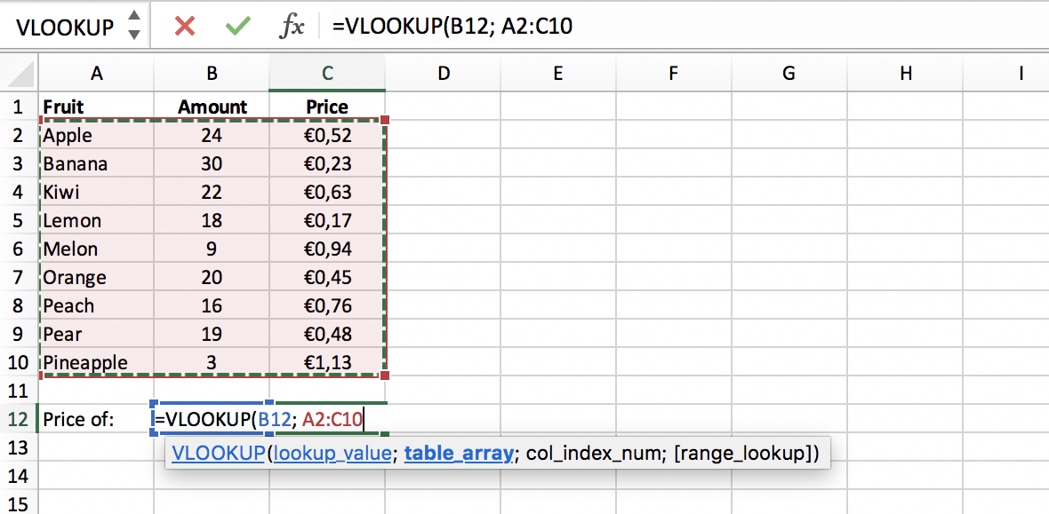 Lookup range (or table array) of a VLOOKUP function in Excel // PerfectXL