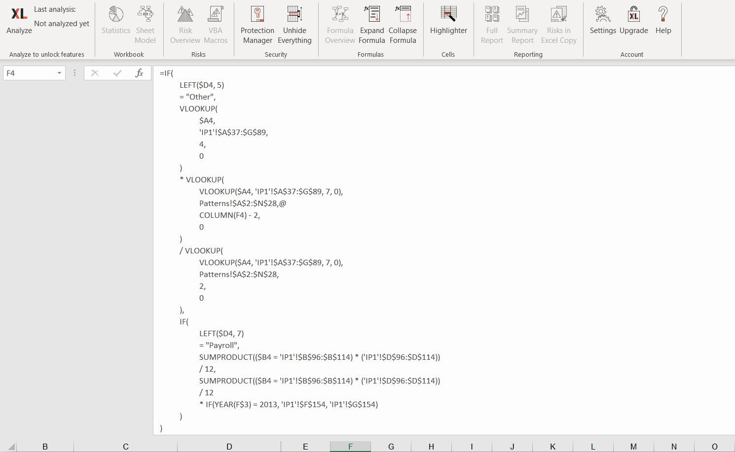 Excel Formula Expander - After expanding // PerfectXL Add-in