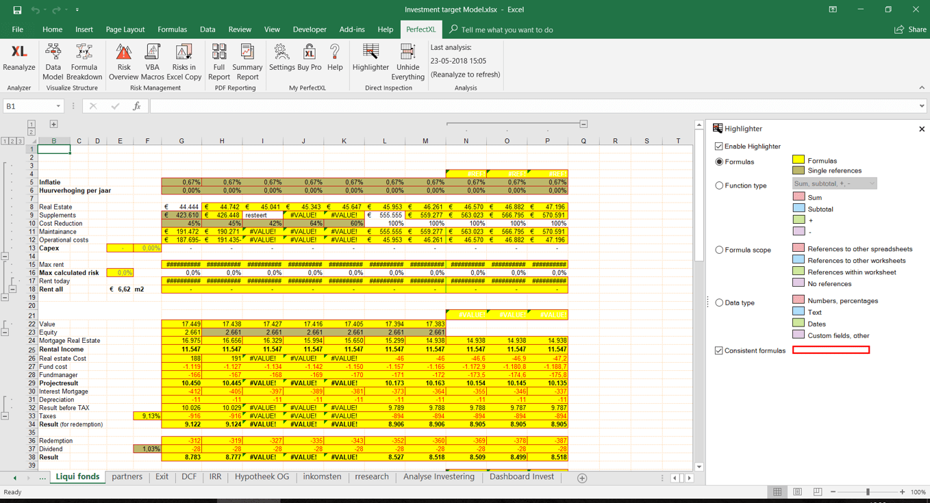Constistent Formulas Highlighted in your Excel File // PerfectXL Add-in