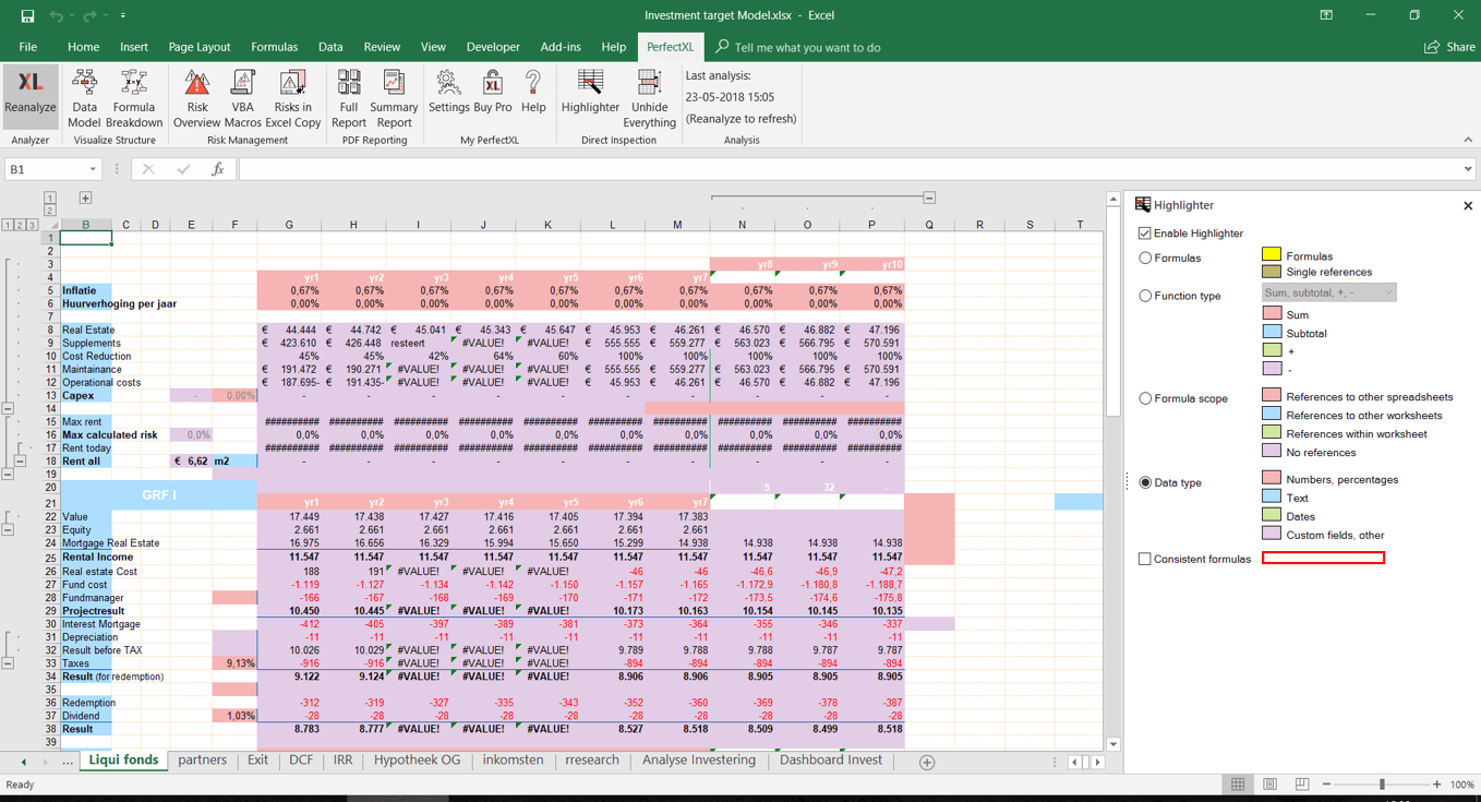 Excel Data Type Highlighter // PerfectXL Add-in