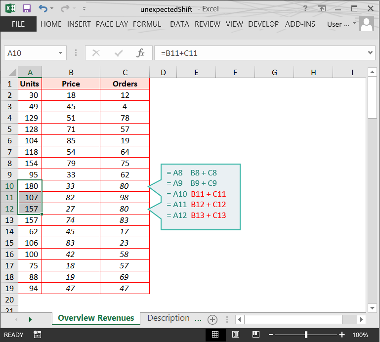 Range issues in Excel :: Unexpected shifts