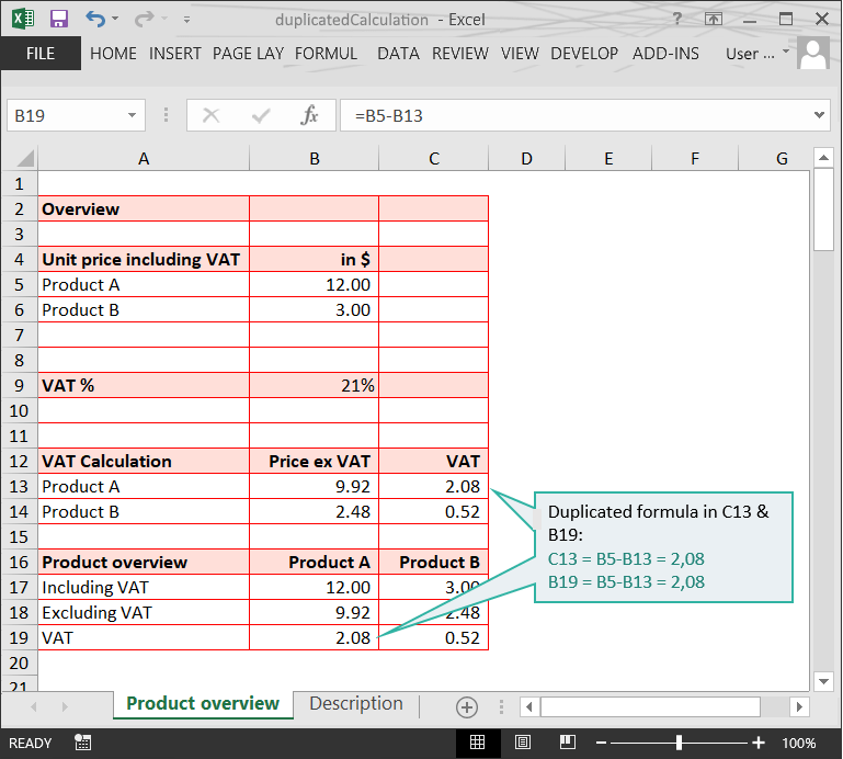 Duplicated Calculation // The Risks of Structure Issues in Excel // PerfectXL Risk Eliminator