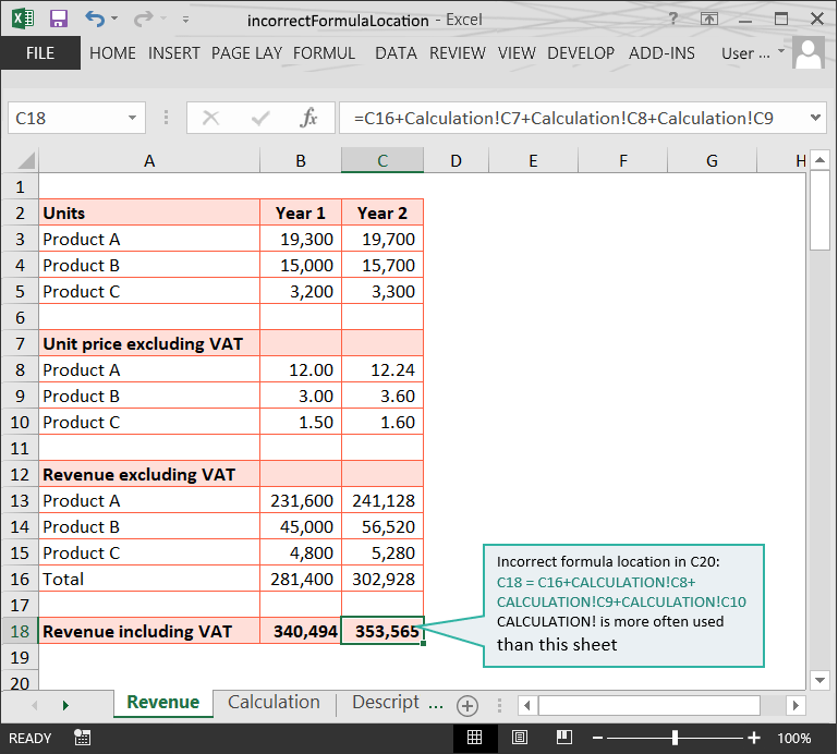 Incorrect Formula Location (1) // The Risks of Structure Issues in Excel // PerfectXL Risk Eliminator