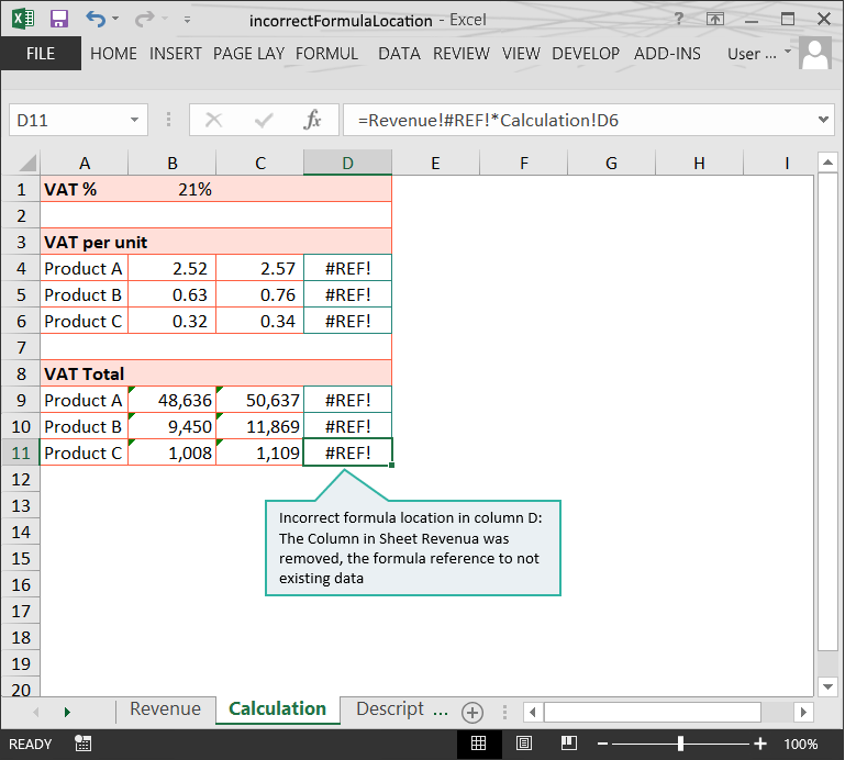 Incorrect Formula Location (2) // The Risks of Structure Issues in Excel // PerfectXL Risk Eliminator
