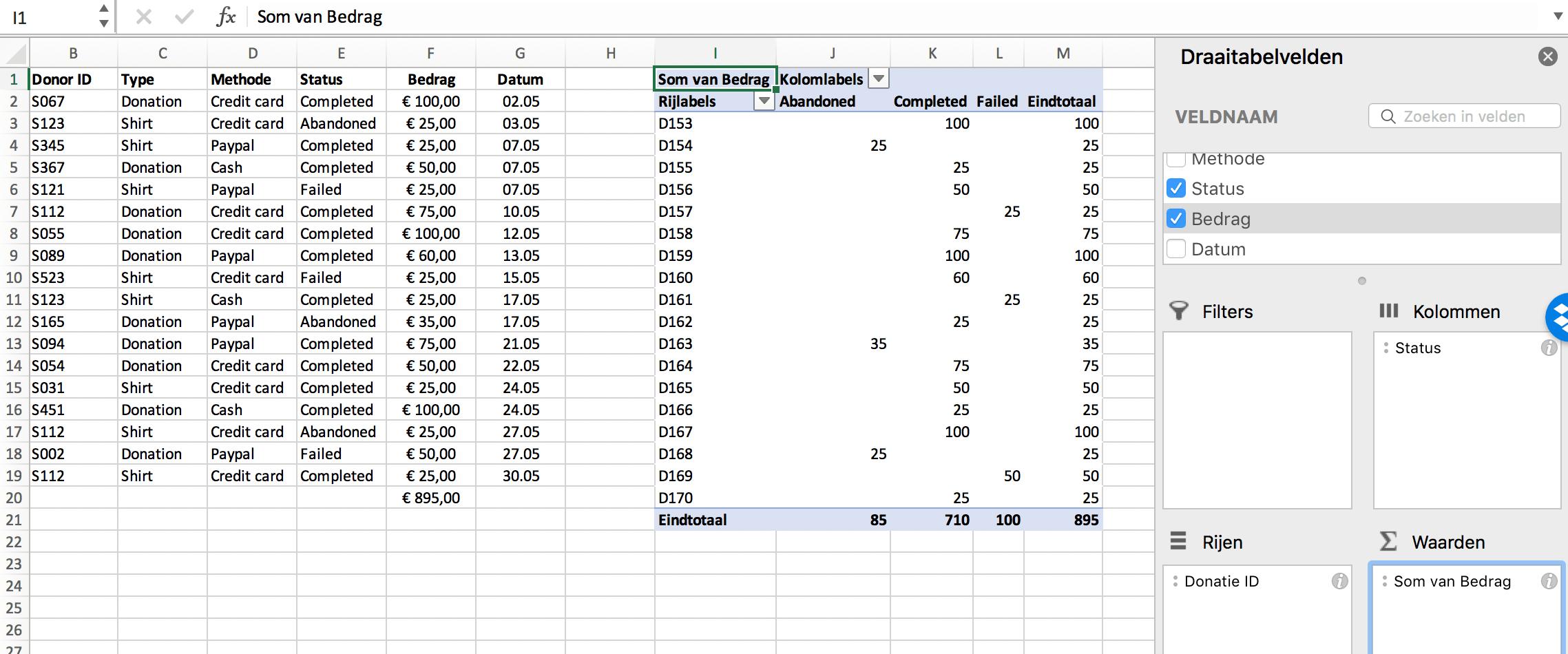 Waarden van een pivot table // Verklarende Woordenlijst Excel // PerfectXL