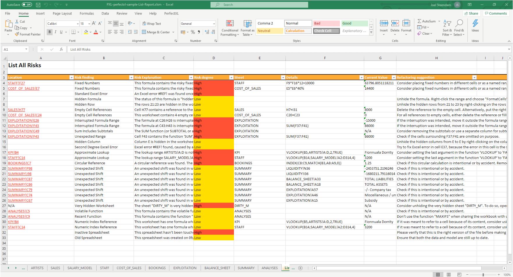 Reports in Excel // PerfectXL Risk Eliminator