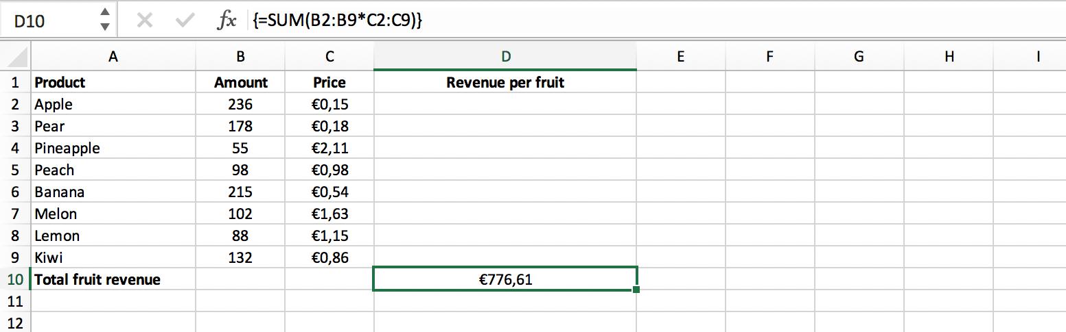 Voorbeeld resultaat enkele cel matrixformule // Verklarende Woordenlijst Excel // PerfectXL