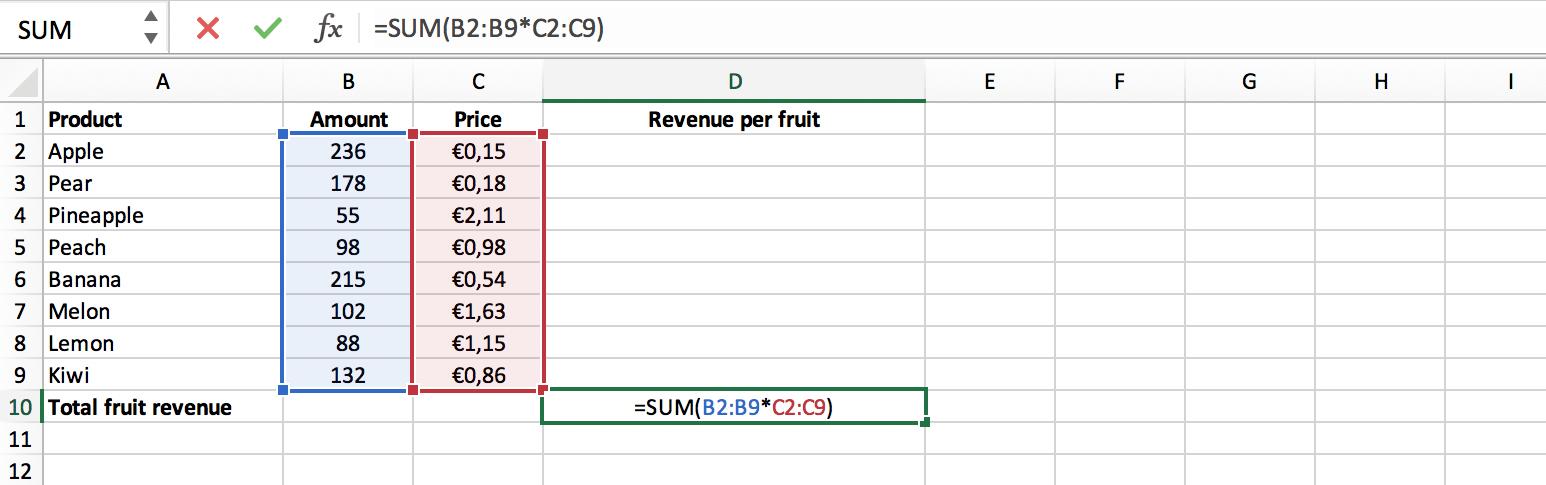 Voorbeeld enkele cel matrixformule // Verklarende Woordenlijst Excel // PerfectXL