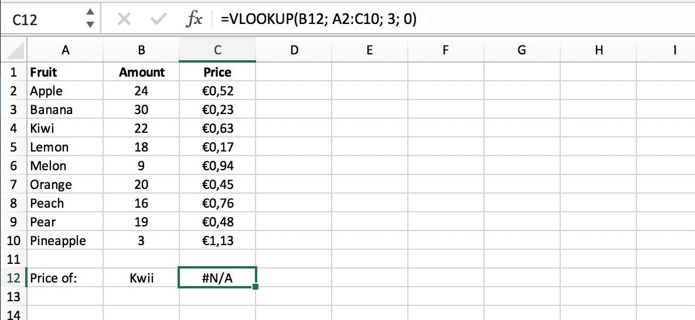 Standaard Excel Error in VERT.ZOEKEN (VLOOKUP) Functie // Verklarende Woordenlijst Excel // PerfectXL