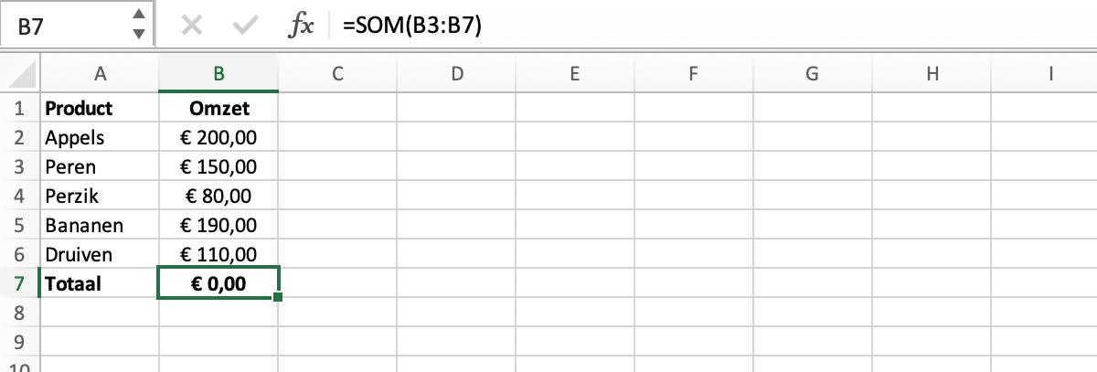Resultaat kringverwijzing // Verklarende woordenlijst Excel // PerfectXL