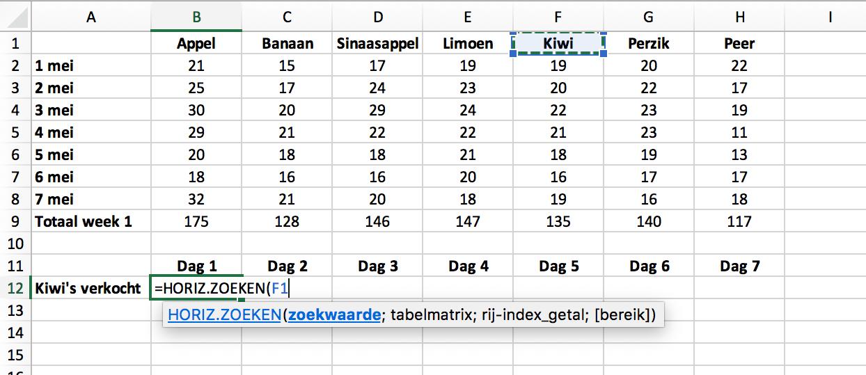 HORIZ.ZOEKEN functie met een celverwijzing // Verklarende Woordenlijst Excel // PerfectXL