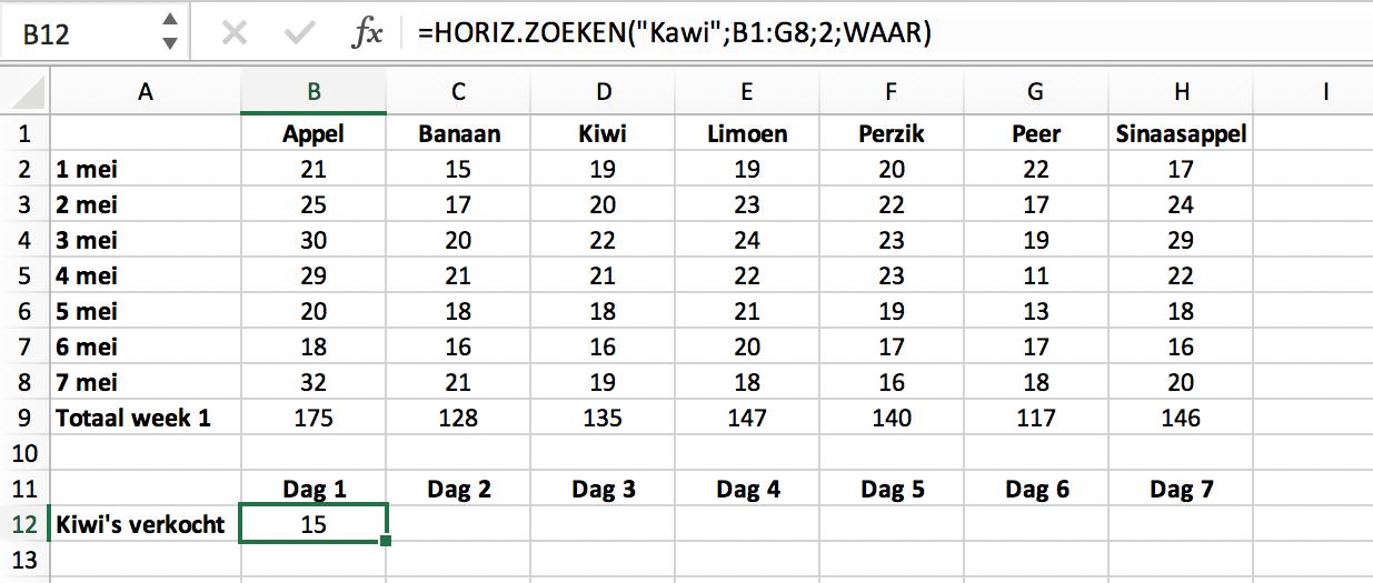 Voorbeeld HORIZ.ZOEKEN functie met niet exacte match // Verklarende Woordenlijst Excel // PerfectXL