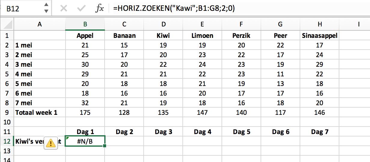 Niet exacte match in HLOOKUP functie // Verklarende Woordenlijst Excel // PerfectXL